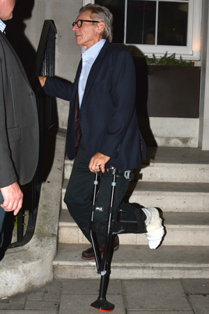 Harrison Ford with hands-free crutch