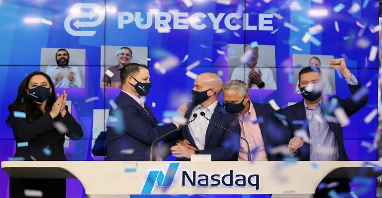 PureCycle managers ring the Nasdaq stock exchange bell