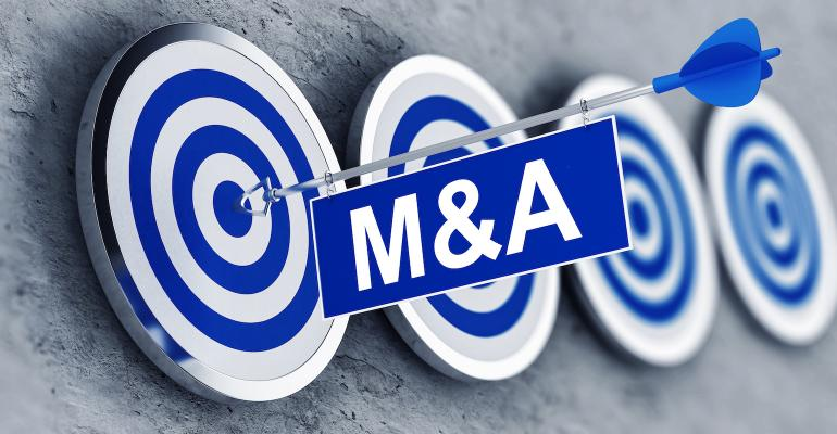 M&A illustration with target and arrow