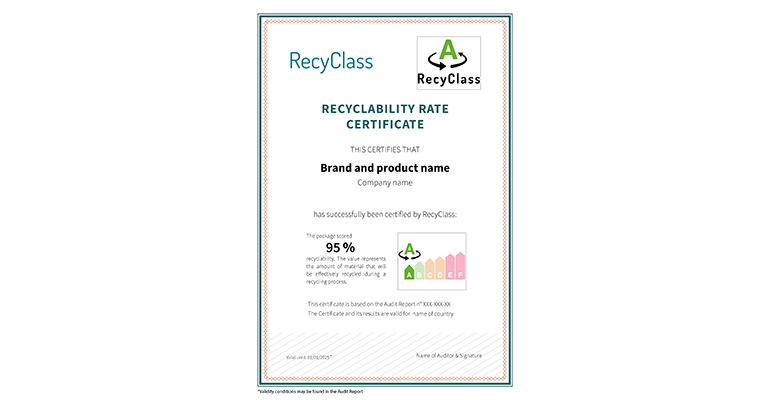 recyclability rate certificate