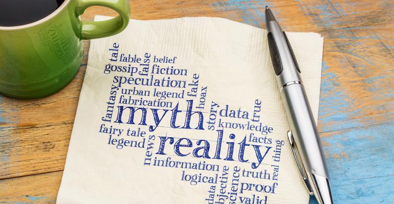 myth and reality printed on napkin