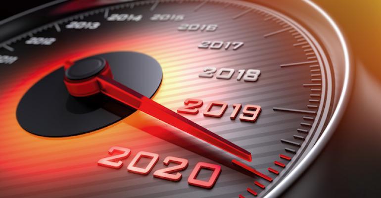 Speedometer showing 2020