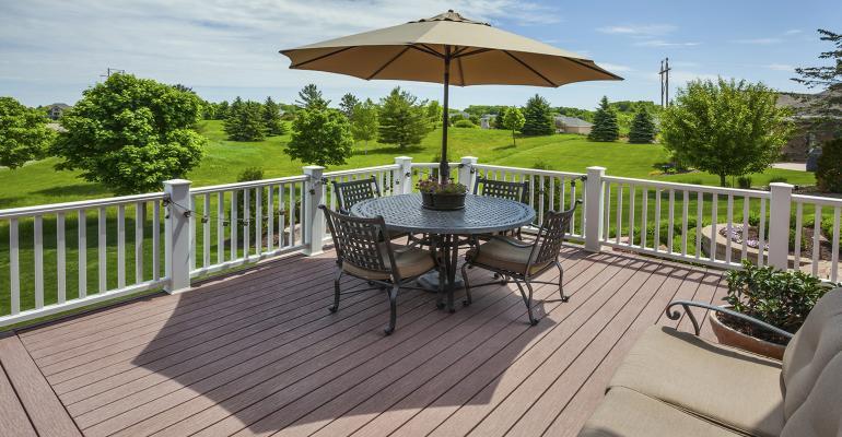 wood-plastic composite decking on patio