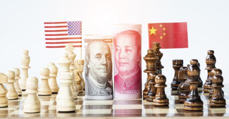 chessboard pitting USA against China
